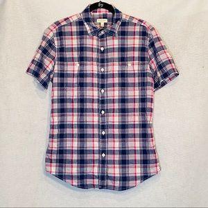 Sonoma M Medium Top Shirt Purple Blue Plaid Cotton